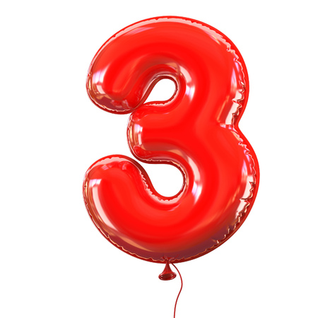 digit 3: number five - 3 balloon font Stock Photo