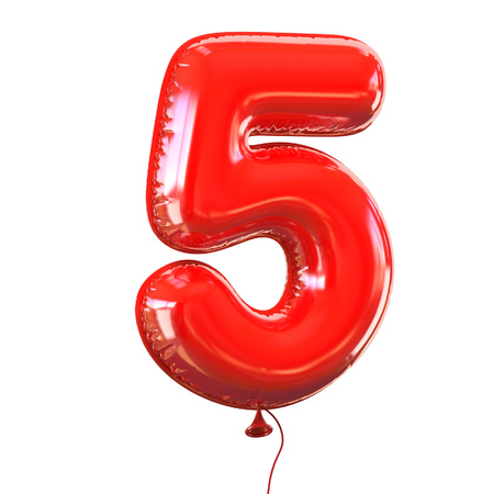 number five: number five - 5 balloon font