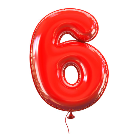 red balloons: number five - 6 balloon font
