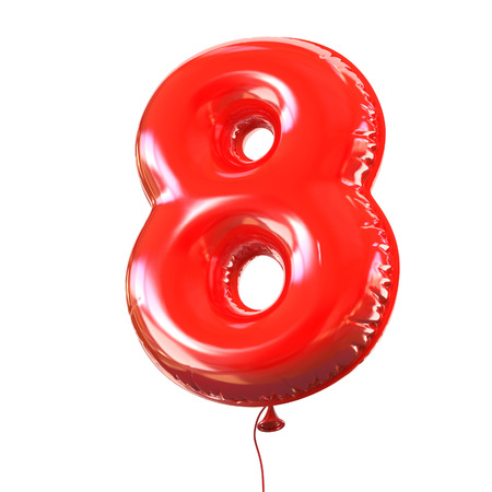 red balloon: number five - 8 balloon font