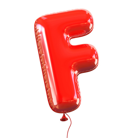 red balloons: letter F balloon font