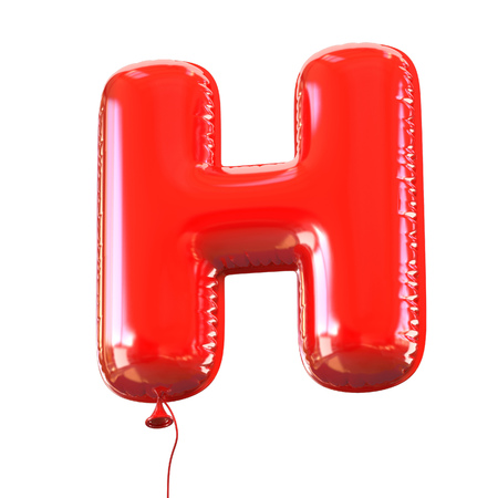red balloons: letter H balloon font Stock Photo
