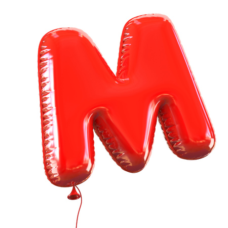 red balloons: letter M balloon font