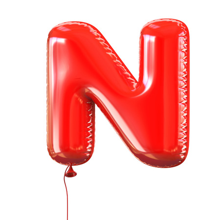 balloons celebration: letter N balloon font Stock Photo