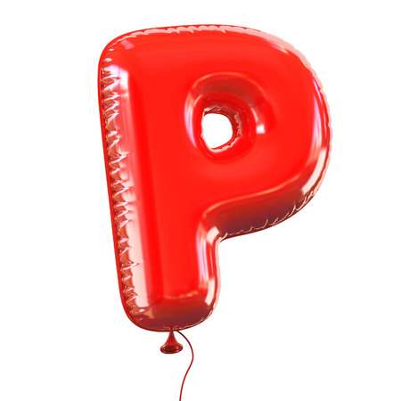 red balloons: letter P balloon font Stock Photo