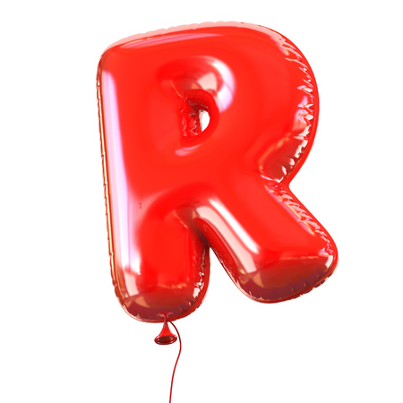 R: letter R balloon font Stock Photo