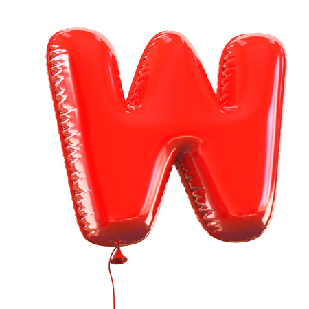 red balloons: letter W balloon font