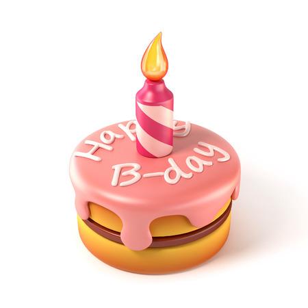 pastel de cumpleaños: torta de cumpleaños del icono 3d