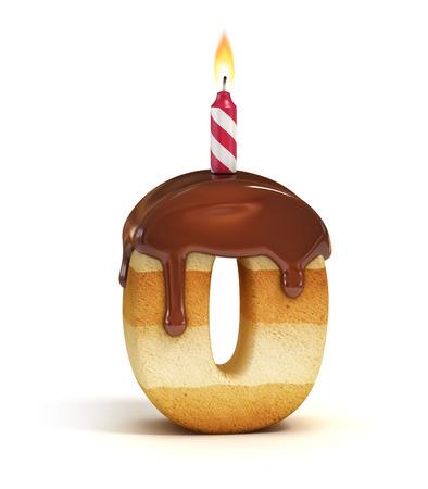 Birthday cake font number 0 Standard-Bild