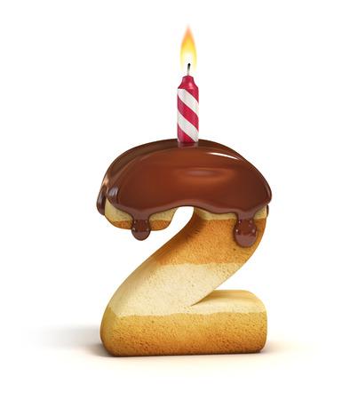 torta candeline: Torta di compleanno numero di font 2