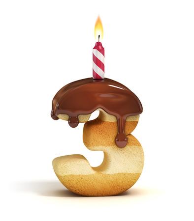 Torta de cumpleaños número 3 de la fuente Foto de archivo - 46401297