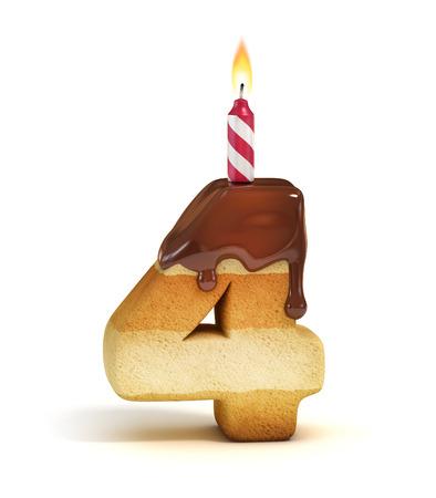 Gâteau d'anniversaire numéro de police 4 Banque d'images
