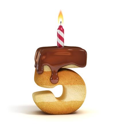 torta candeline: Torta di compleanno numero di carattere 5