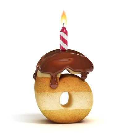 CAKE: Torta de cumpleaños número 6 de la fuente Foto de archivo