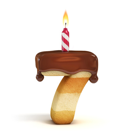 Birthday cake font number 7 Reklamní fotografie - 46401301