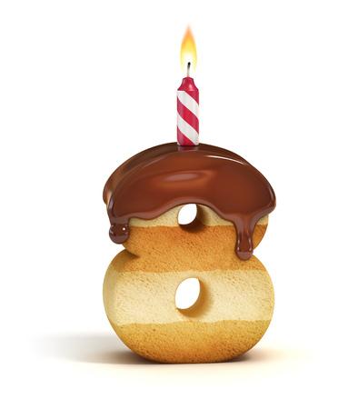 Verjaardagstaart lettertype nummer 8 Stockfoto