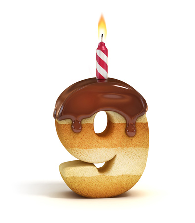 Verjaardagstaart lettertype nummer 9 Stockfoto