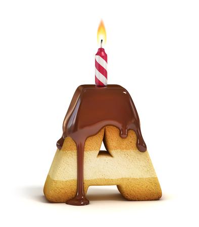 tortas de cumpleaños: Torta de cumpleaños carta de letra A