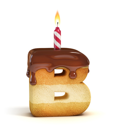 b day gift: Birthday cake font letter B Stock Photo