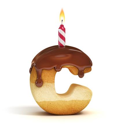 Lettre gâteau d'anniversaire de la police C Banque d'images