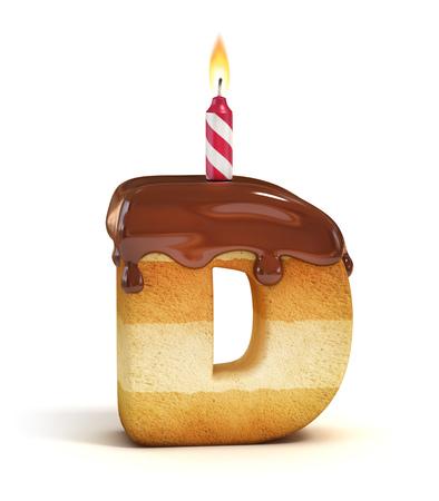 Birthday cake font letter D Фото со стока