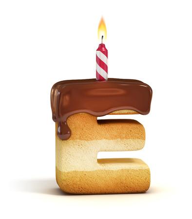 pastel de cumpleaños: Carta de cumpleaños de la torta de la fuente E Foto de archivo