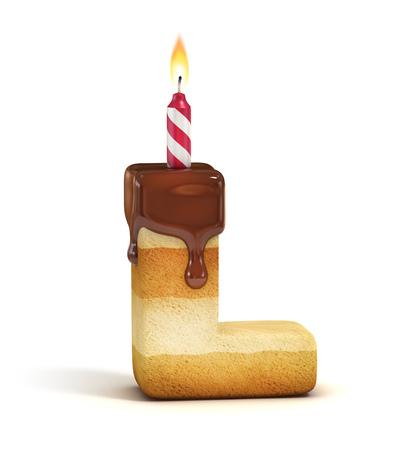 pastel de cumplea�os: Torta de cumplea�os carta de letra L Foto de archivo