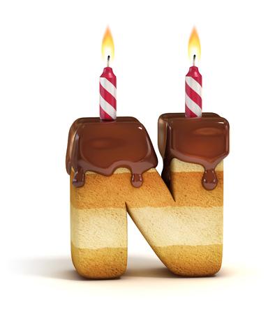 pastel de cumpleaños: Carta de cumpleaños de la torta de la fuente N