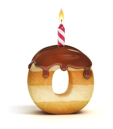 cartoon cake: Birthday cake font letter O