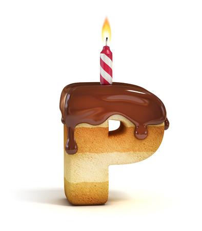 Birthday cake font letter P