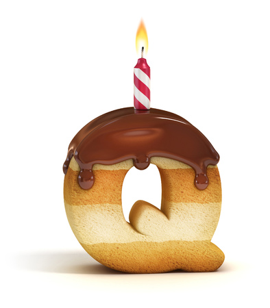 text 3d: Birthday cake font letter Q