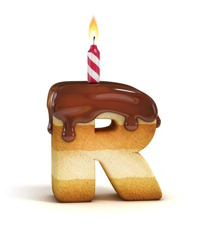 Gâteau d'anniversaire lettre de police R Banque d'images - 46401351