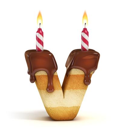 gateau anniversaire: Gâteau d'anniversaire lettre de police V Banque d'images