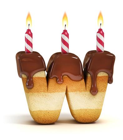 letter w: Birthday cake font letter W