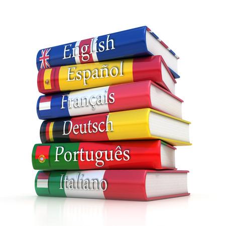 dictionaries, learning foreign language Foto de archivo