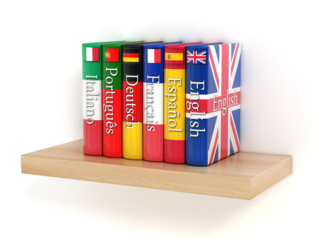 Diccionarios, el aprendizaje de lenguas extranjeras Foto de archivo - 46401379
