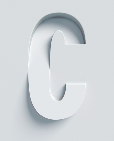 Letter C slanted 3d font engraved and extruded from the surface