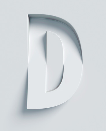 3 d illustrations: Letter D slanted 3d font engraved and extruded from the surface Stock Photo