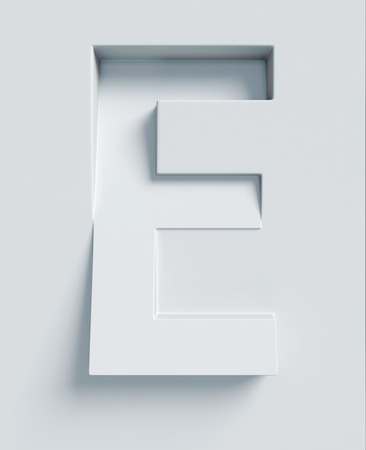 slanted: Letter E slanted 3d font engraved and extruded from the surface