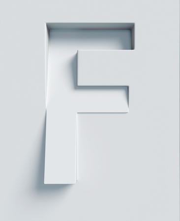 oblique: Letter F slanted 3d font engraved and extruded from the surface Stock Photo