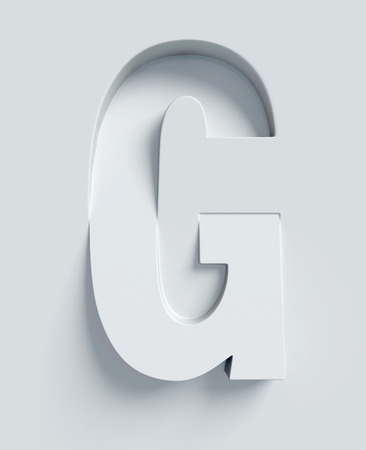 letter g: Letter G slanted 3d font engraved and extruded from the surface