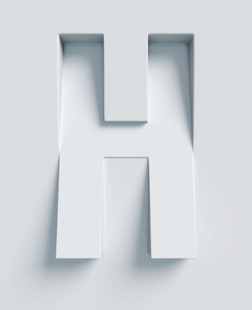 Letter H slanted 3d font engraved and extruded from the surface