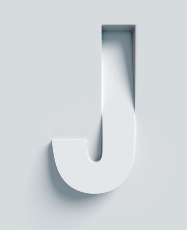 J: Letter J slanted 3d font engraved and extruded from the surface