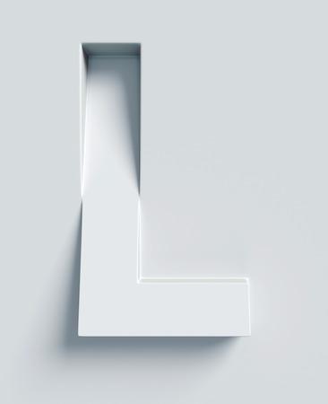 Letter L schuine 3D-lettertype gegraveerd en geëxtrudeerd uit het oppervlak