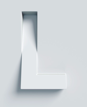slant: Letter L slanted 3d font engraved and extruded from the surface