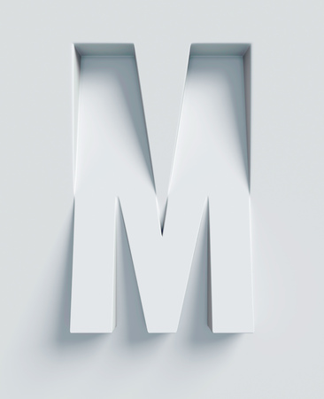 Letter M slanted 3d font engraved and extruded from the surface