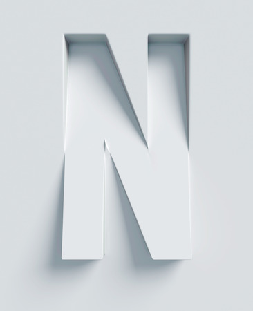 slanted: Letter N slanted 3d font engraved and extruded from the surface
