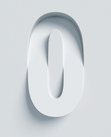 Letter O slanted 3d font engraved and extruded from the surface Reklamní fotografie - 46355490