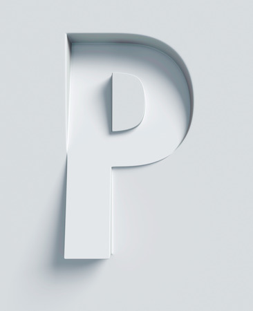 Letter P slanted 3d font engraved and extruded from the surface Standard-Bild