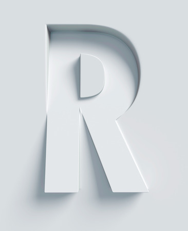 Letter R slanted 3d font engraved and extruded from the surface
